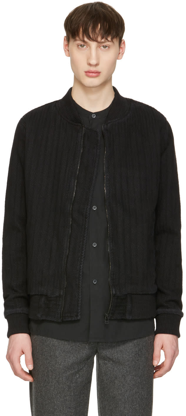 Naked and Famous Denim Black Denim Bomber Jacket