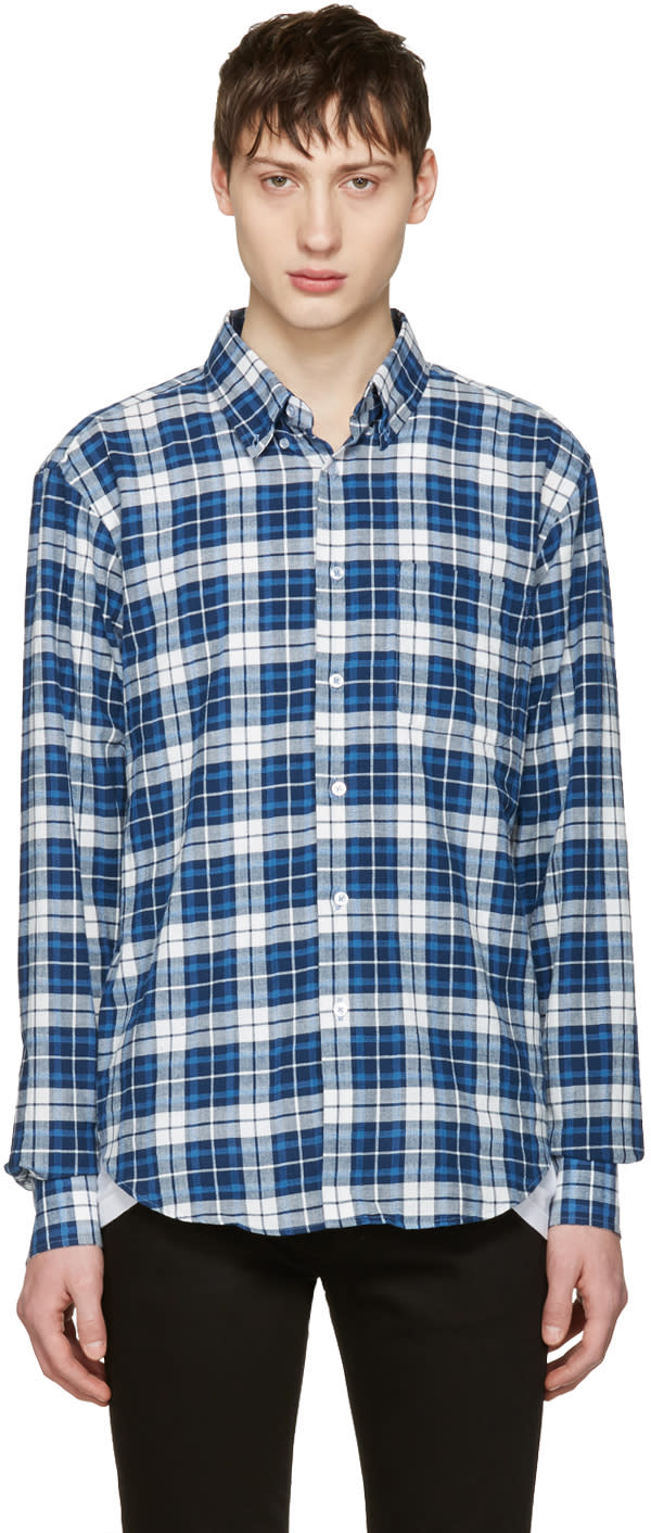 Naked and Famous Denim White and Blue Dobby Check Shirt