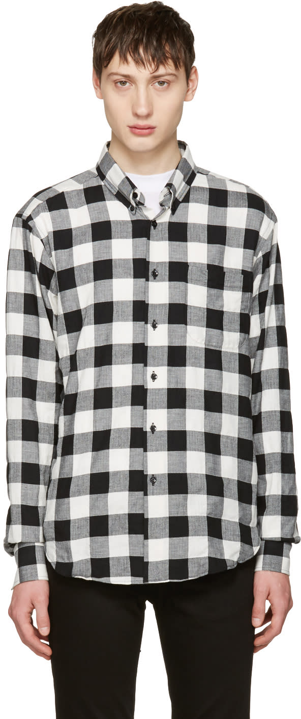 Naked and Famous Denim Black and White Herringbone Buffalo Check Shirt