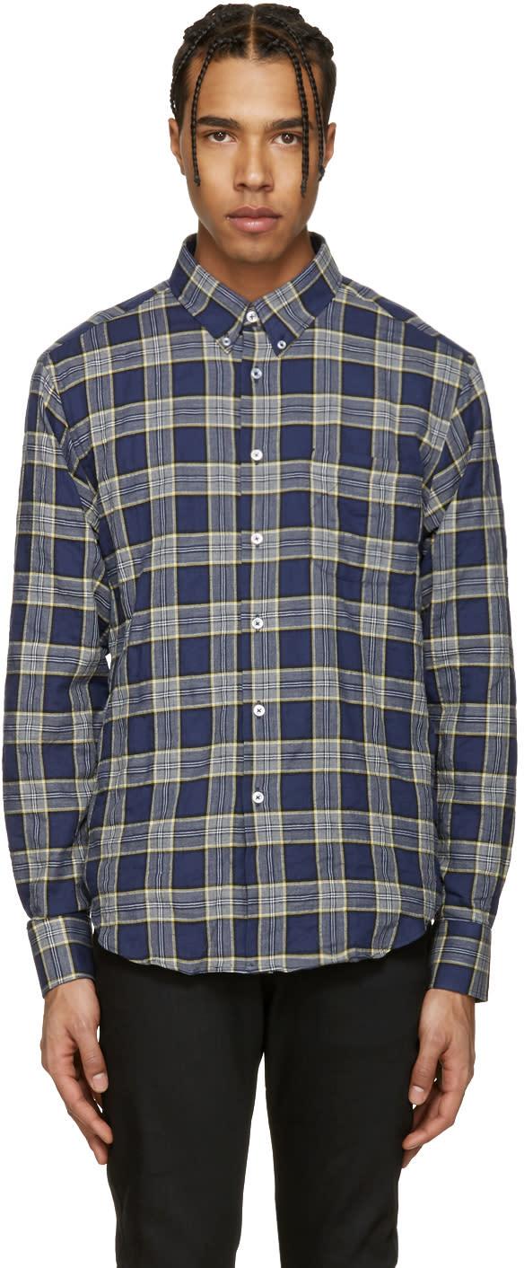 Naked and Famous Denim Blue Herringbone Buffalo Check Shirt