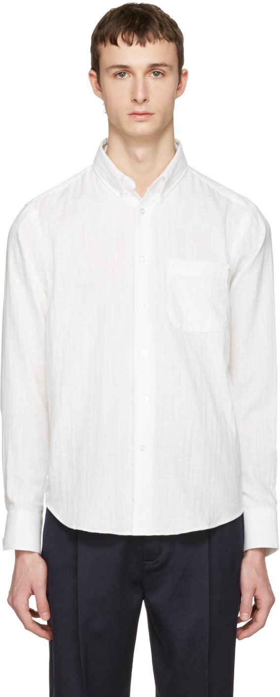 Naked and Famous Denim White Gauze Regular Shirt