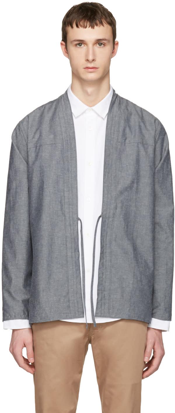 Naked and Famous Denim Ssense Exclusive Grey Kimono Shirt
