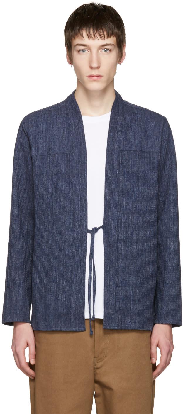 Naked and Famous Denim Ssense Exclusive Indigo Kimono Shirt