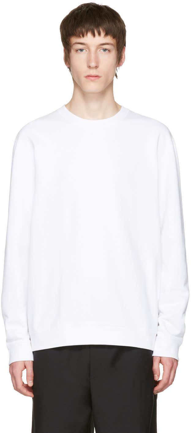 Naked and Famous Denim White Slim Crewneck Sweatshirt