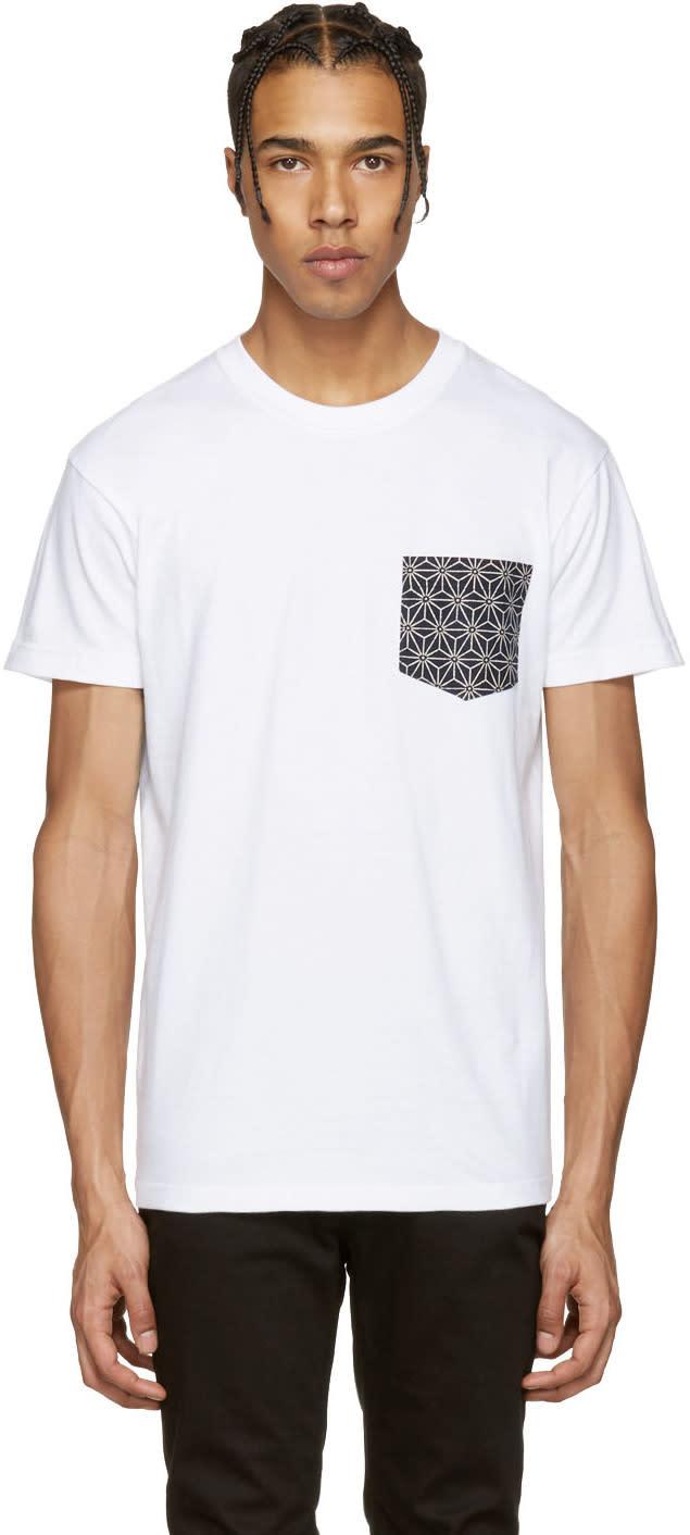 Naked and Famous Denim White Geometric Pocket T-shirt