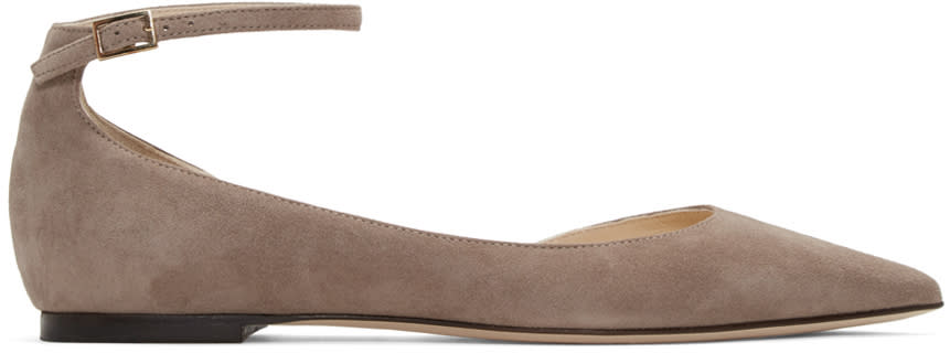 Jimmy Choo Taupe Suede Lucy Flats