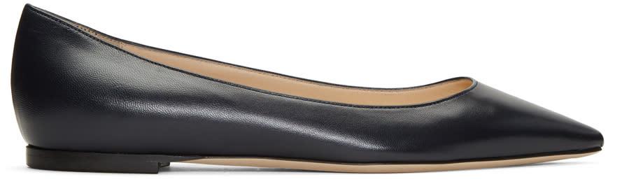 Jimmy Choo Navy Leather Romy Ballerina Flats