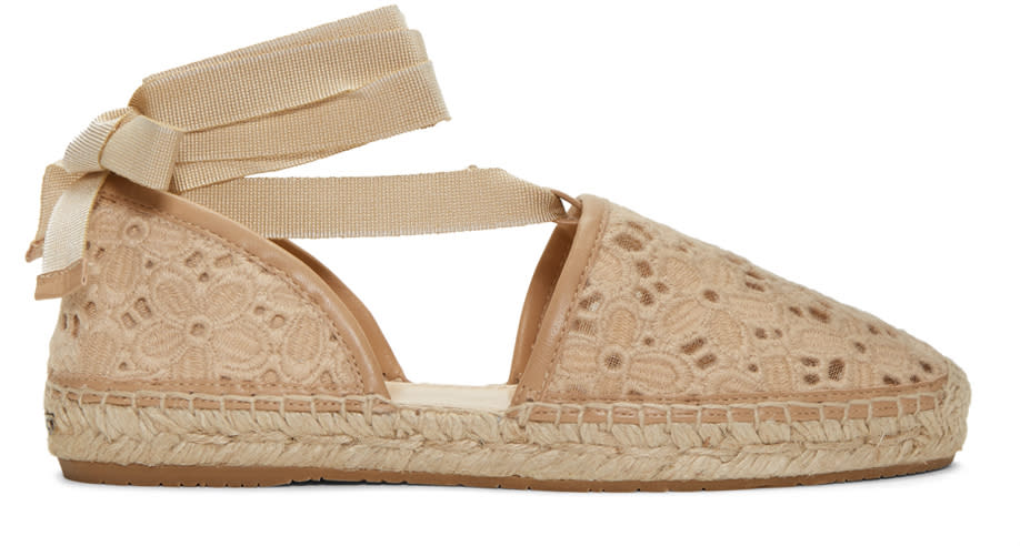 Jimmy Choo Beige Embroidered Lace Dolphin Espadrilles
