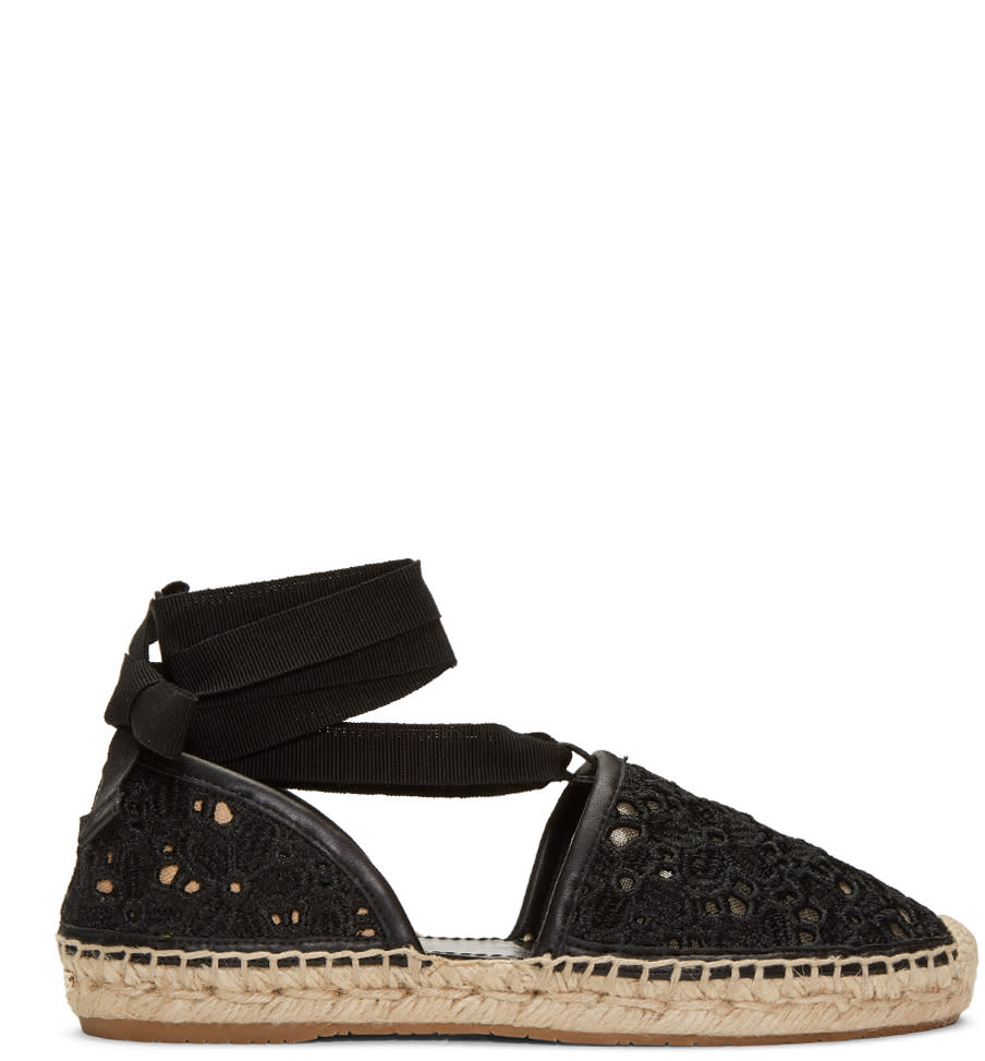 Jimmy Choo Black Embroidered Lace Dolphin Espadrilles