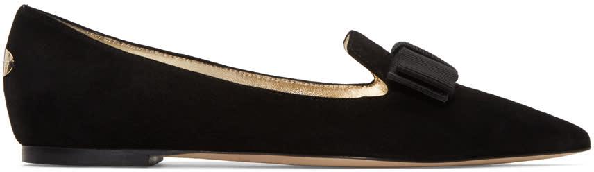 Jimmy Choo Black Suede Gala Bow Slippers
