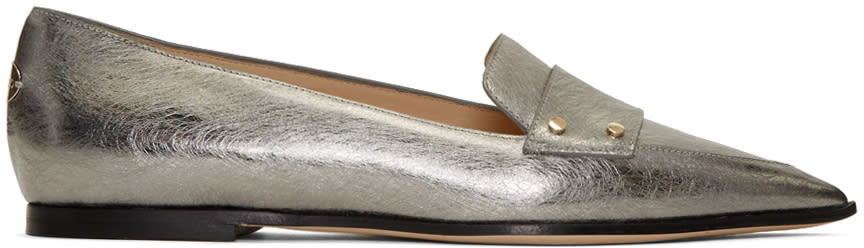 Jimmy Choo Silver Leather Gia Loafers