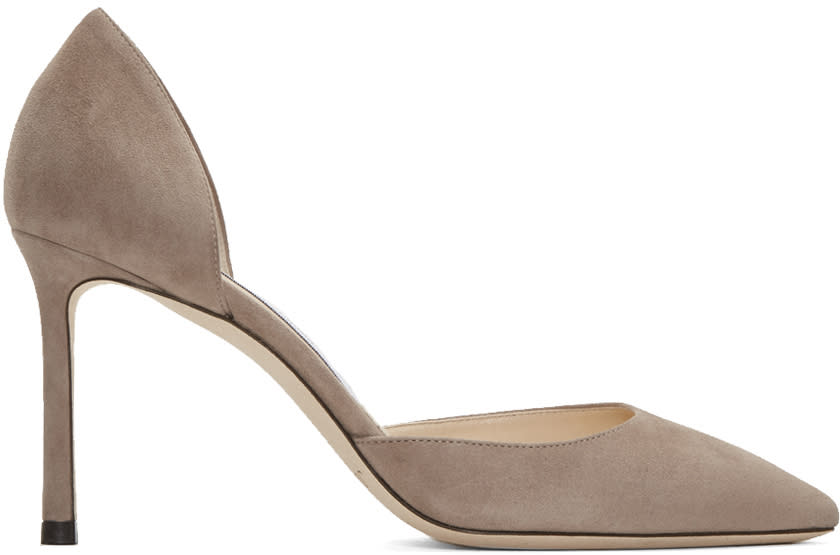 Jimmy Choo Taupe Suede Esther Dorsay Heels