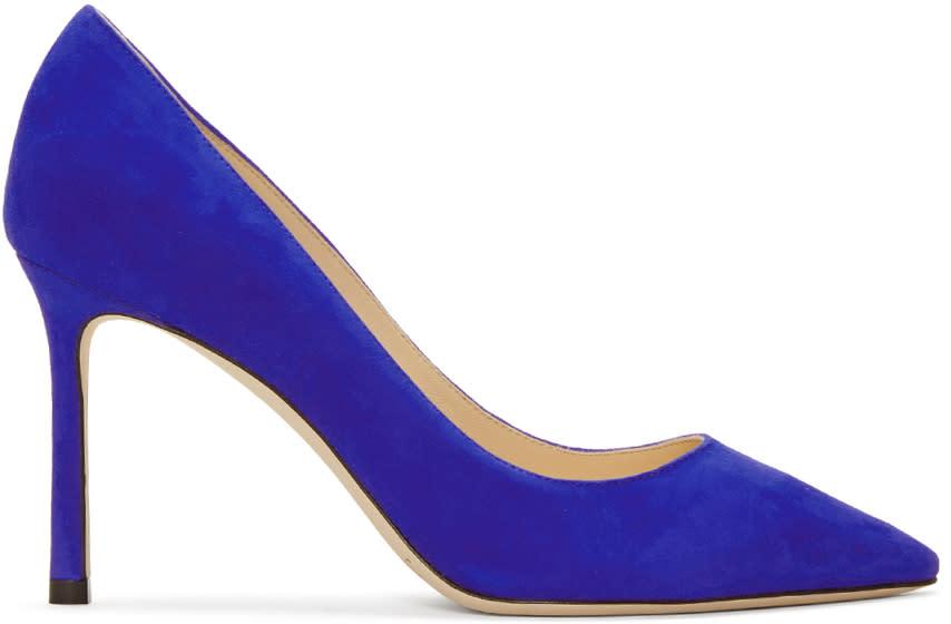 Jimmy Choo Blue Suede Romy Heels