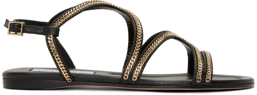 Jimmy Choo Black Chain-trimmed Nickel Sandals