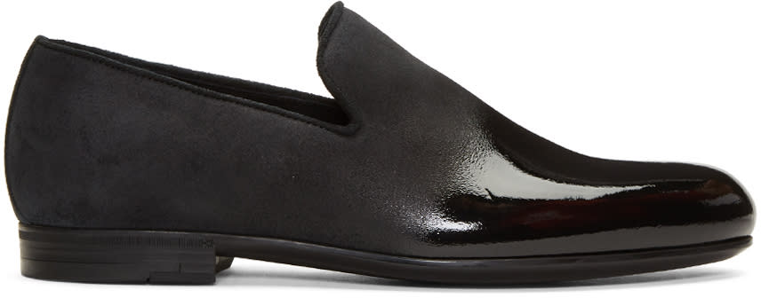 Jimmy Choo Black Lacquered Suede Sloan Loafers