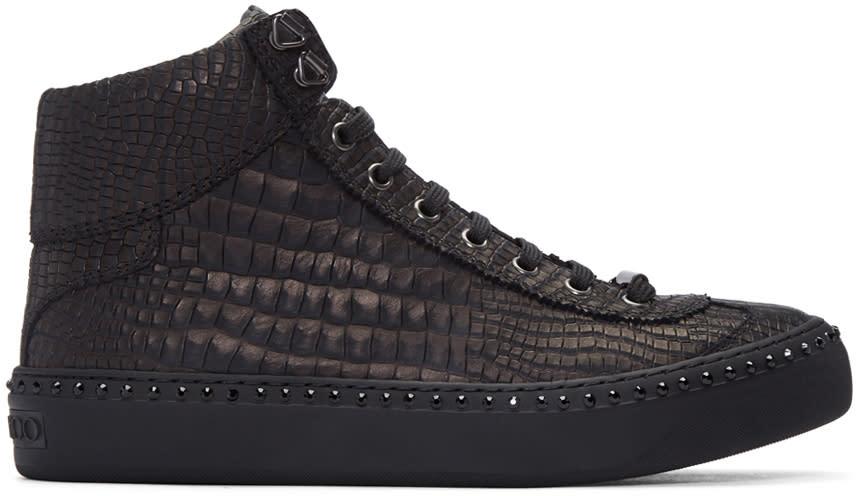 Jimmy Choo Gunmetal Croc-embossed Argyle High-top Sneakers