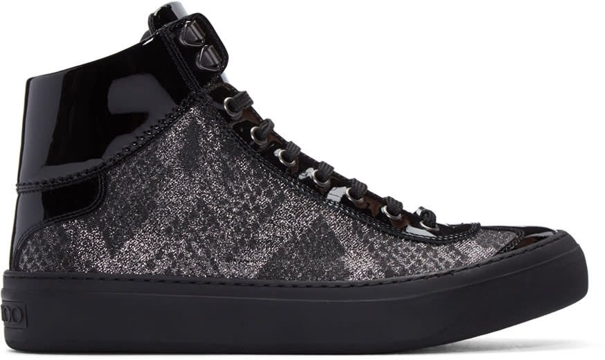 Jimmy Choo Silver and Black Lame Argyle High-top Sneakers