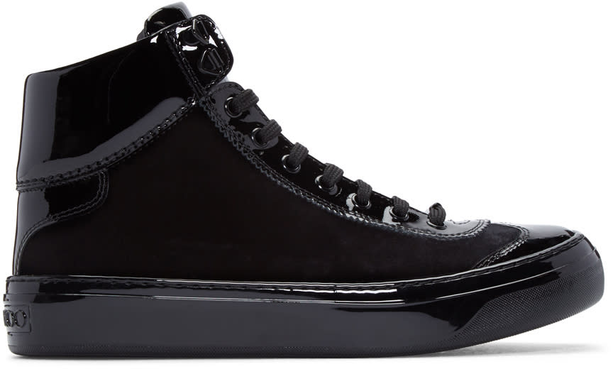 Jimmy Choo Black Velvet and Leather Argyle High-top Sneakers