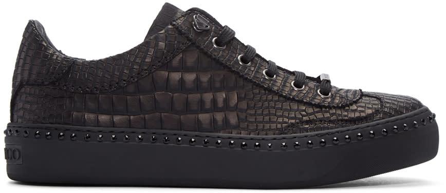 Jimmy Choo Gunmetal Croc-embossed Ace Sneakers