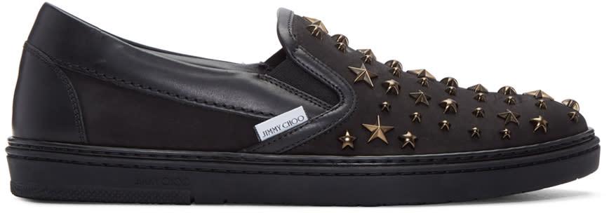 Jimmy Choo Black Star Grove Slip-on Sneakers