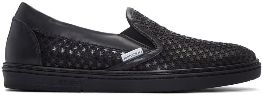 Jimmy Choo Blue Satin Star Grove Slip-on Sneakers