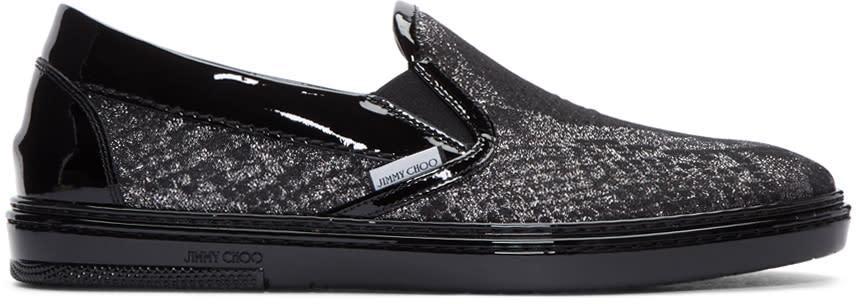 Jimmy Choo Silver Snake Lame Slip-on Sneakers