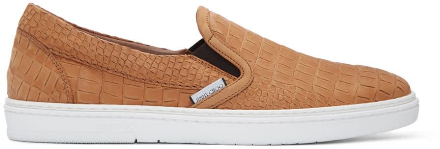 Jimmy Choo Tan Croc-embossed Grove Slip-on Sneakers