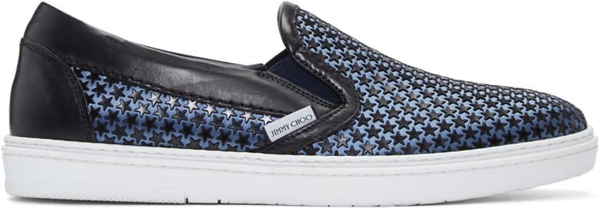 Jimmy Choo Black Satin Star Grove Slip-on Sneakers