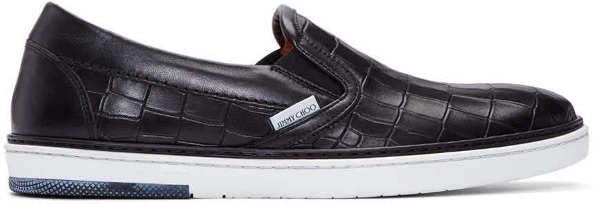 Jimmy Choo Black Croc-embossed Grove Slip-on Sneakers