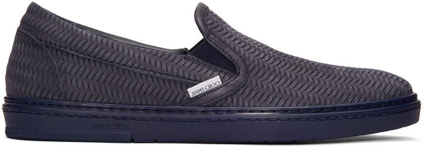 Jimmy Choo Navy Grove Slip-on Sneakers