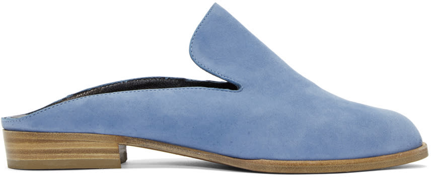 Robert Clergerie Blue Suede Alicem Slip-on Loafers