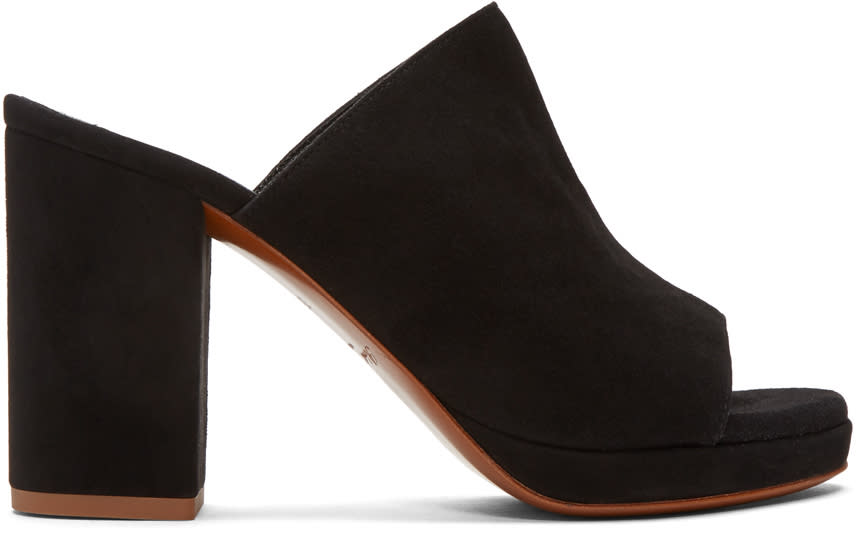 Robert Clergerie Black Suede Abrice Mules