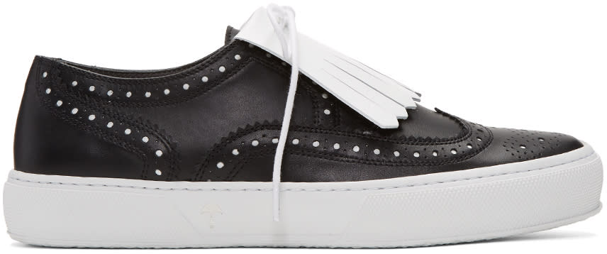 Robert Clergerie Black Tolka Brogue Sneakers