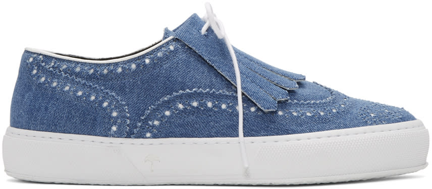 Robert Clergerie Baskets En Denim Bleues Tolka
