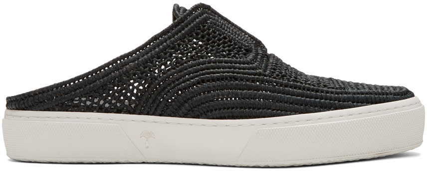 Robert Clergerie Black Teller Straw Stitch Slip-on Sneakers