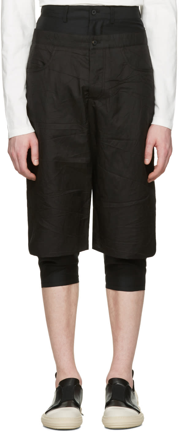Image of D.gnak By Kang.d Black Layered Shorts