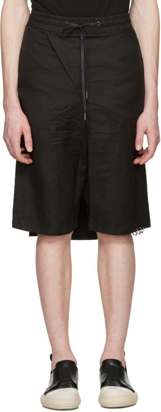 Image of D.gnak By Kang.d Black Crinkled Back Panel Shorts