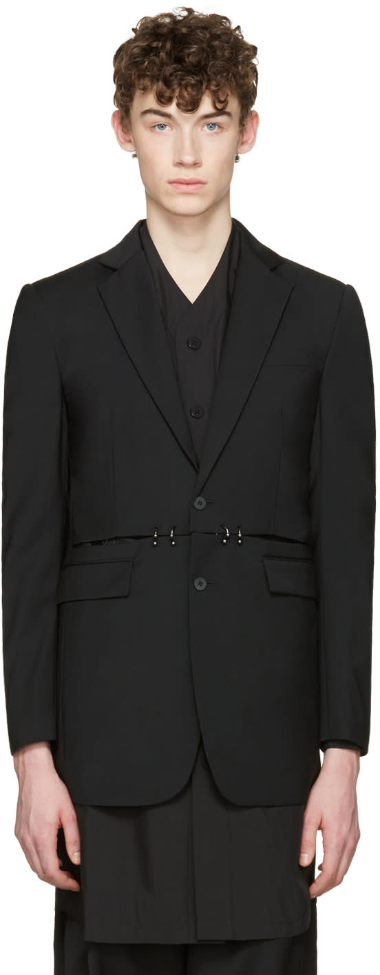 Image of D.gnak By Kang.d Black Cut-out and Rings Blazer