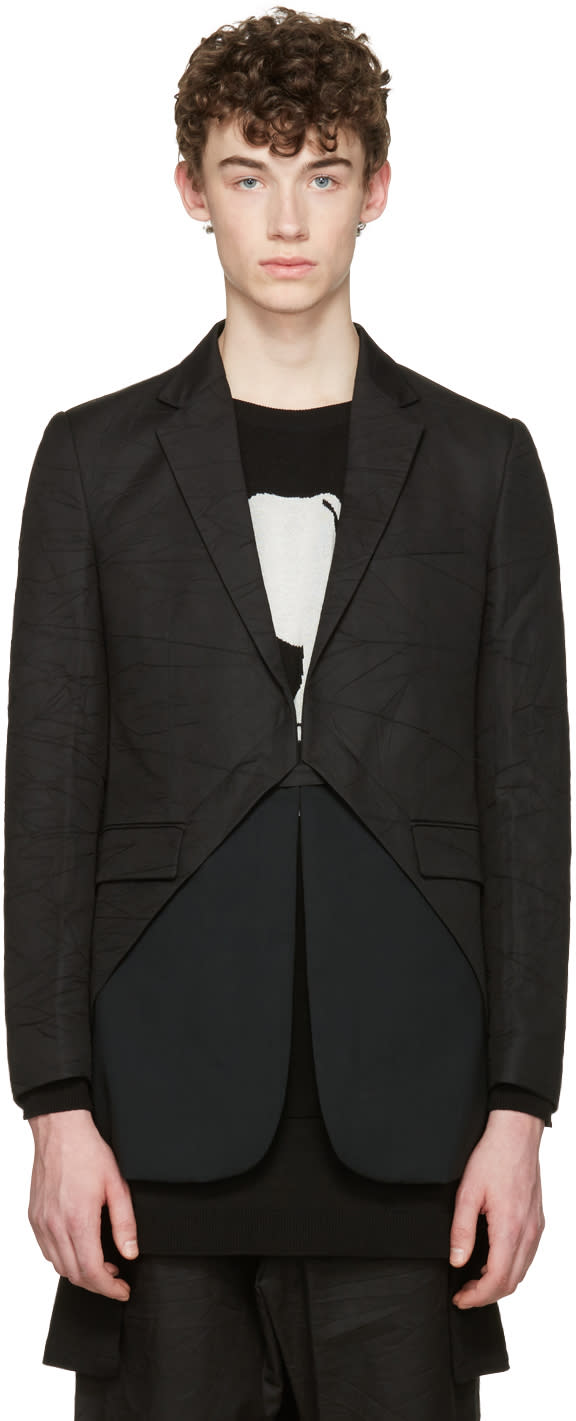 Image of D.gnak By Kang.d Black Oblique Blazer