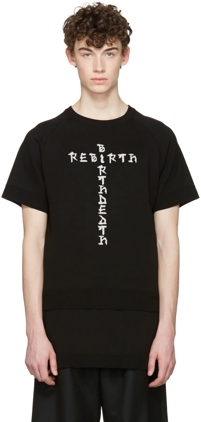 Image of D.gnak By Kang.d Black Jacquard Knit Rebirth T-shirt