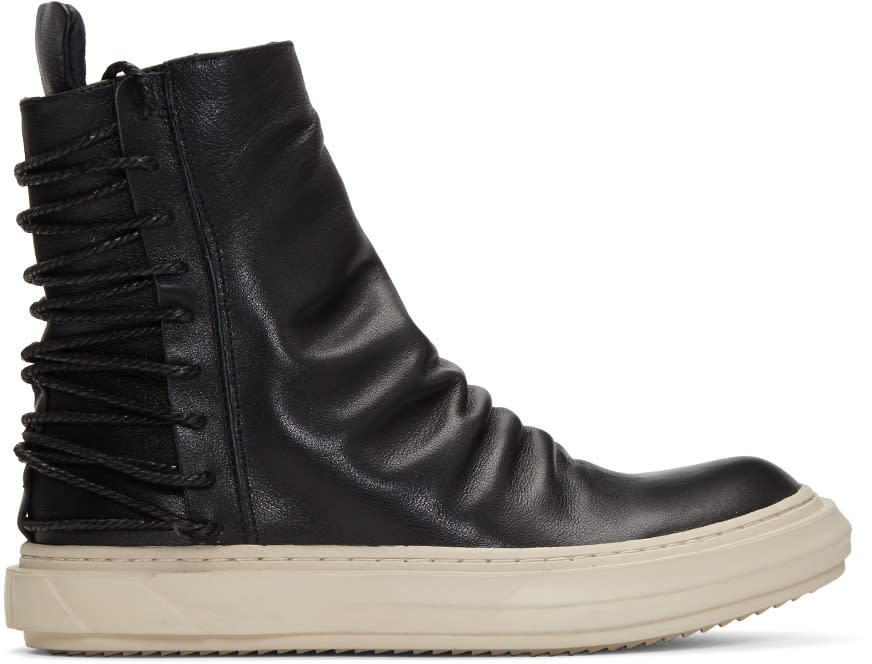 Image of D.gnak By Kang.d Black Lace-up Back High-top Sneakers