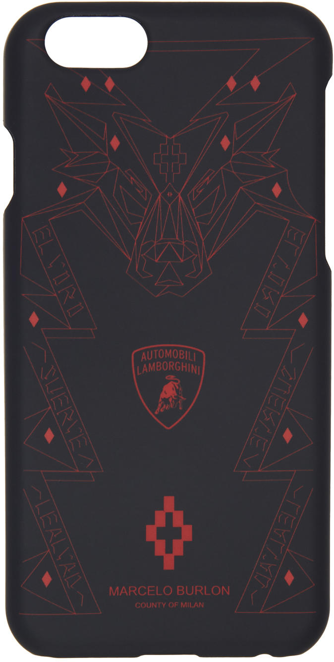 Marcelo Burlon County Of Milan Black Lamborghini Iphone 6 Case