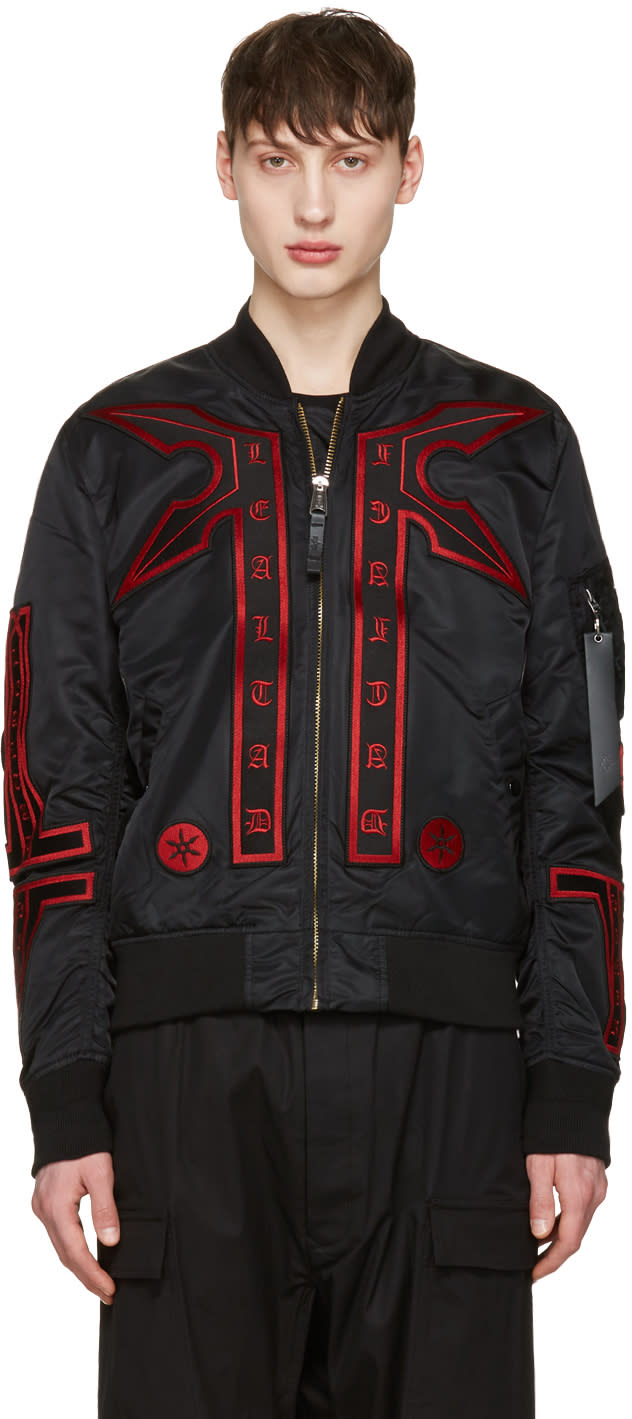 Image of Marcelo Burlon County Of Milan Black Alpha Industries Edition Manuel Ma-1 Bomber Jacket