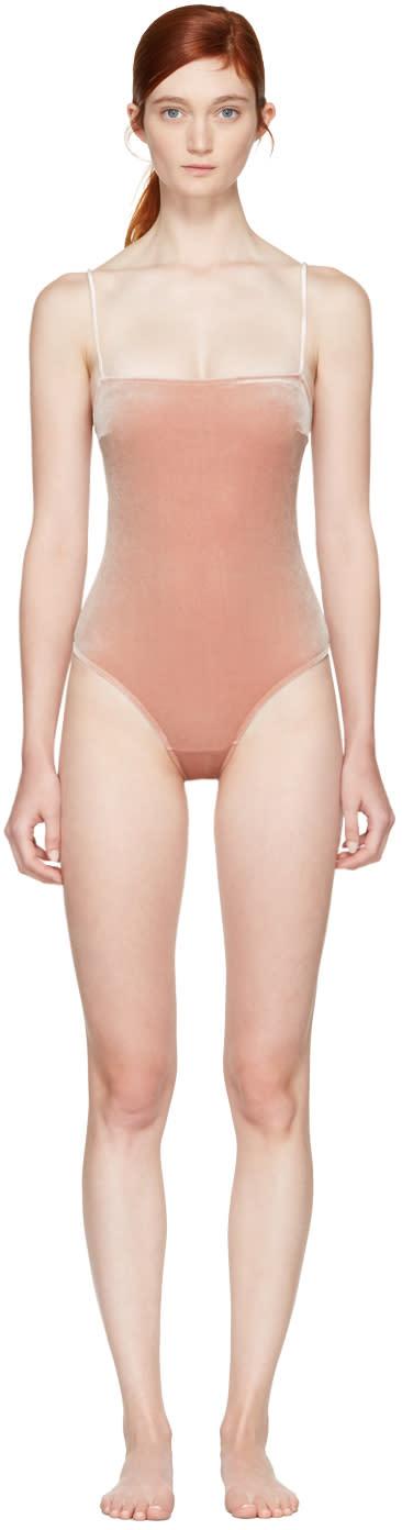 Fleur Du Mal Pink Velvet Straight Neck Bodysuit