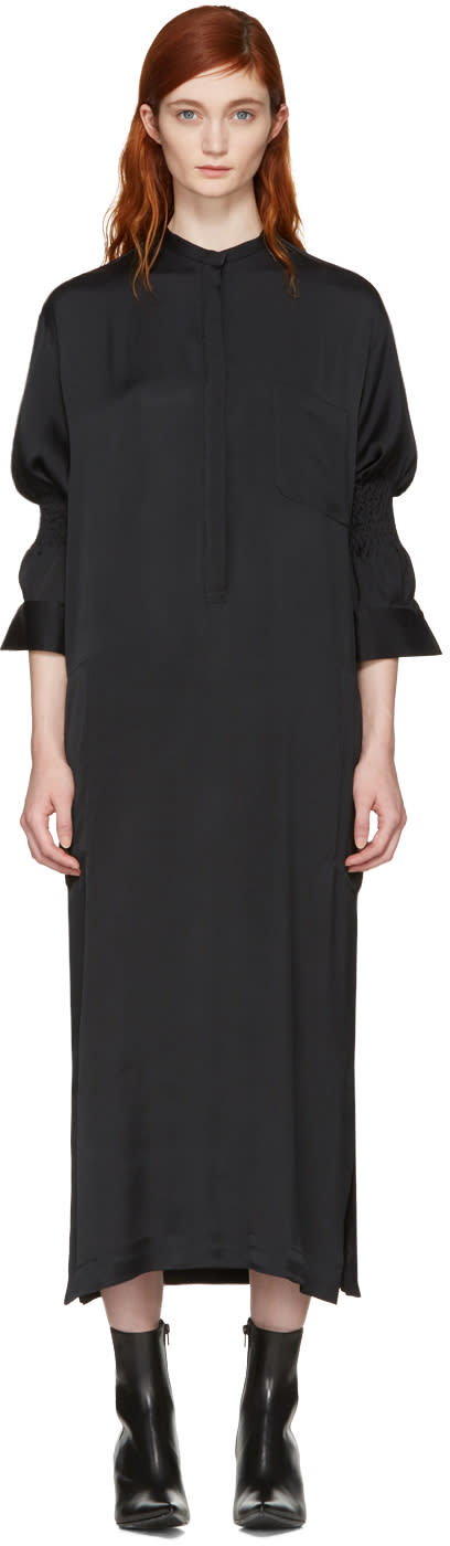 Haider Ackermann Black Smocked Shirt Dress