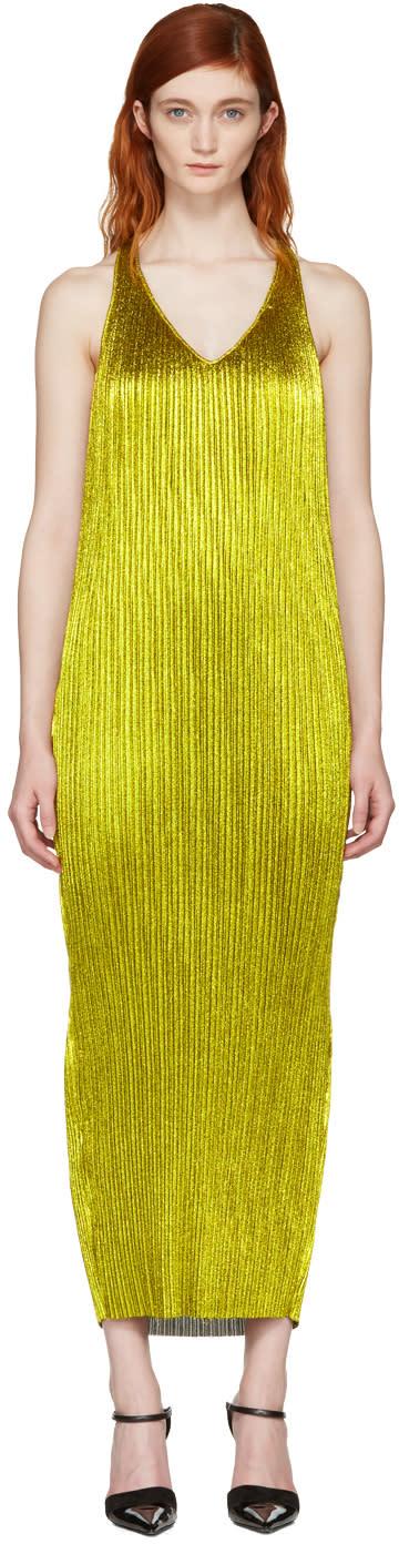Haider Ackermann Gold Plisse Tank Dress