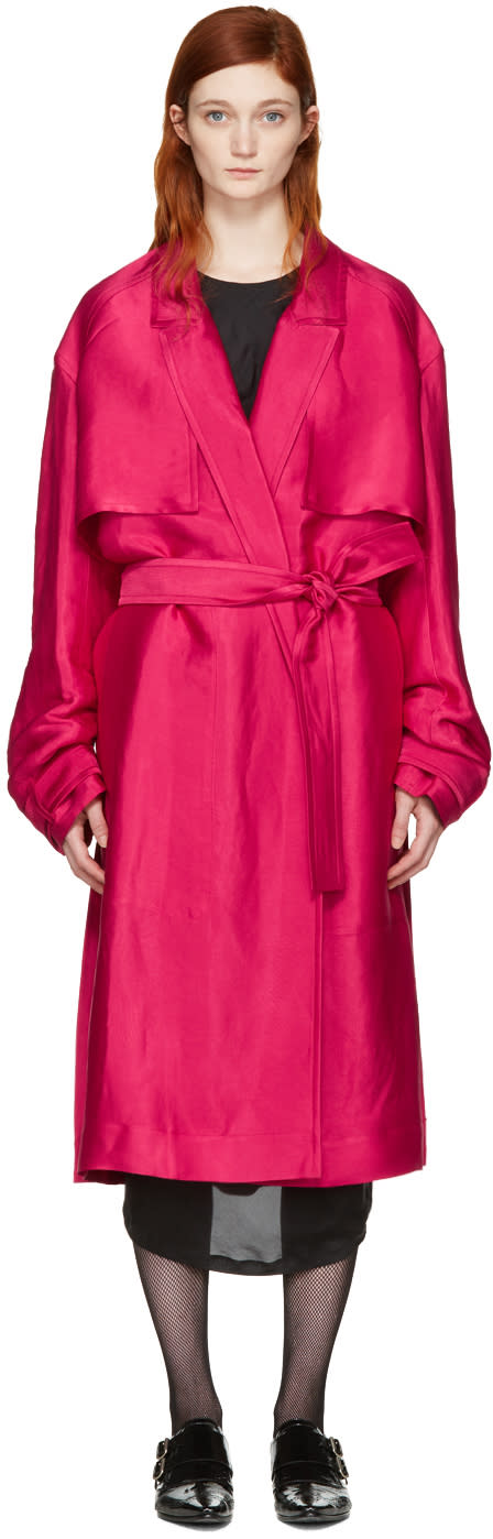 Haider Ackermann Pink Twill Trench Coat