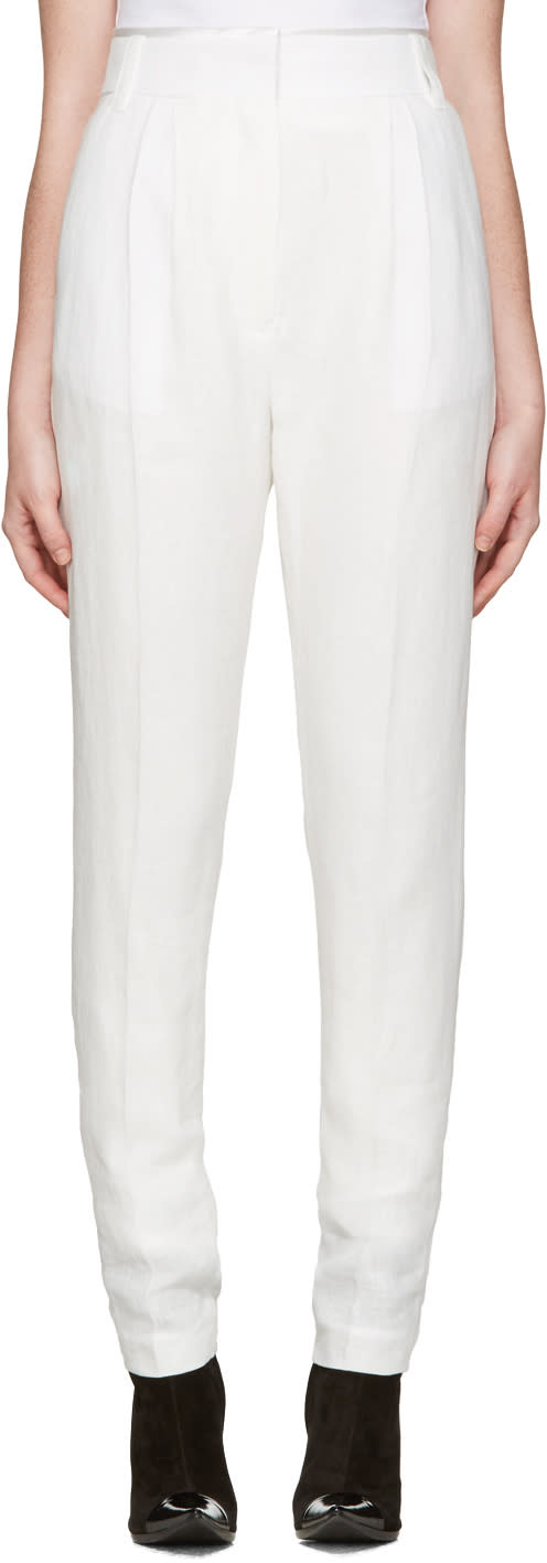 Haider Ackermann Ivory Pleated Trousers