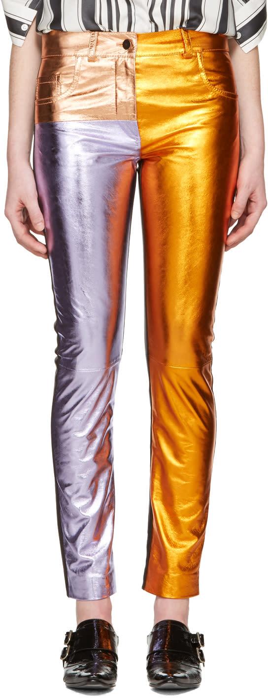 Haider Ackermann Pantalon En Cuir Métallique Multicolore