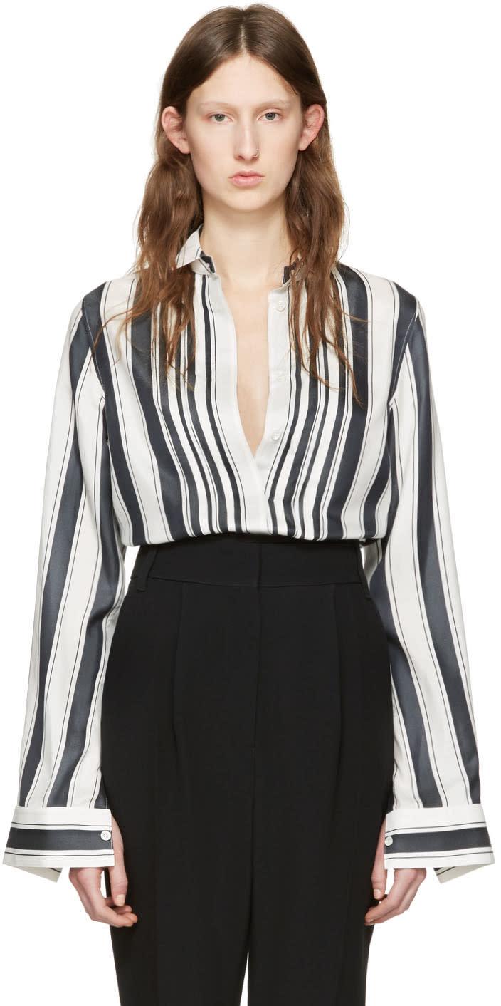 Haider Ackermann White Striped Silk Shirt